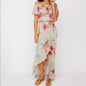 Express Floral Ruffle Off The Shoulder Maxi Dress
